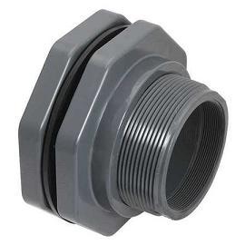 Gray Inland Seas PVC Bulkhead Tank Adapter Schedule 80 1//2 Thread x Thread